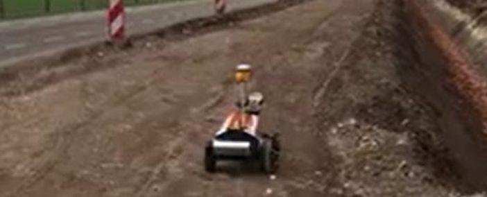 Robot Plotter van Rasenberg Infra in actie op de puinbaan